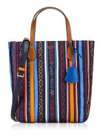 TORY BURCH Perry Nylon Printed Tote Gemini Multi Stripe