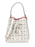 KATE SPADE Hayes Perforated Small Drawstring Bucket Bright White Bright Carnation