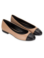 MICHAEL KORS Dylyn Leather Slip On Ballet Toffee Black Sz 9