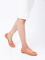 TOD'S Dee Laccetto Ballerina Flats Coral Sz 36.5