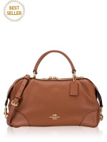 COACH 69621 Pebble Leather Lane Satchel Saddle