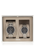 FOSSIL BQ2469 His and Her Fenmore Midsize Chronograph Stainless Gift Set Silver Black