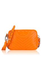 TORY BURCH Fleming Distressed Chevron Leather Camera Bag Orange Juice