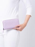 BOTTEGA VENETA Intrecciato Nappa Zip Wallet Oyster Purple