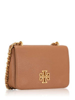 TORY BURCH Britten Leather Adjustable Shoulder Bag Bark