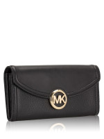 MICHAEL KORS Fulton Leather Flap Continental Wallet Black
