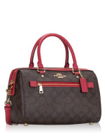 COACH 83607 Signature Rowan Satchel Brown True Red