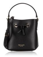 KATE SPADE Eva Leather Small Bucket Black Warm Beige
