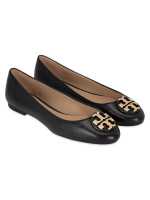 TORY BURCH Claire Tumbled Leather Flat Black Sz 8