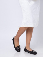 MICHAEL KORS Lillie Leather Flats Black Silver Sz 7