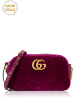 GUCCI GG Marmont Velvet Camera Bag Fuchsia