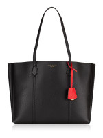 TORY BURCH Perry Leather Triple Compartment Tote Black