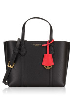TORY BURCH Perry Small Leather Triple Compartment Tote Black