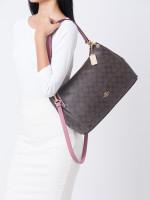 COACH 28967 Signature Mia Shoulder Bag Brown Pink Rose