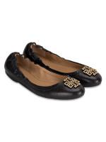 TORY BURCH Melinda Tumbled Leather Flats Black Sz 7