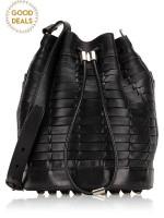 ALEXANDER WANG Alpha Woven Leather Bucket Bag Black