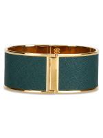 TORY BURCH Skinny Leather Inlay Cuff Green Gold