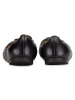 TORY BURCH Melinda Tumbled Leather Flats Black Sz 6