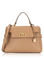 MICHAEL KORS Karson Medium Leather Top Handle Satchel Dark Khaki