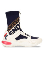 FENDI x Fila FendiMania High Top Sneakers Navy White Sz 7