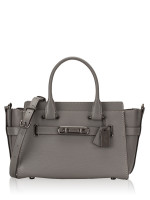 COACH 87295 Swagger 27 Pebble Leather Carryall Heather Grey