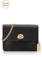 COACH 31384 Signature Bowery Turnlock Crossbody Brown Black