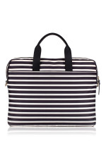 KATE SPADE Nylon Stripe Laptop Bag Black Cream