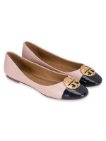 TORY BURCH Chelsea Cap-Toe Leather Flats Sea Shell Perfect Navy Sz 8