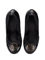 TORY BURCH Caroline Leather Wedges Black Sz 6.5