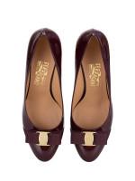 SALVATORE FERRAGAMO Carla Patent Leather Heels Burgundy Sz 9