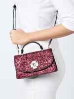 KATE SPADE Odette Glitter Mini Top Handle Crossbody Black Cherry