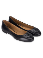 TORY BURCH Benton Leather Flats Perfect Black Multi Sz 8.5