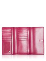 COACH 88024 Signature Trifold Wallet Khaki Dark Fuchsia