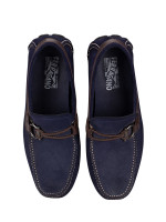 SALVATORE FERRAGAMO Men Suede And Calfskin Gancio Driver Navy Sz 8