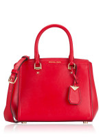 MICHAEL KORS Benning Leather Medium Messenger Bright Red