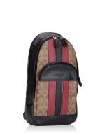 COACH Men 85035 Houston Pack Varsity Stripe Tan Soft Red Black