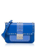 MICHAEL KORS Sloan Editor Studded Leather Shoulder Bag Grecian Blue