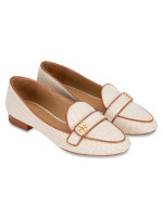 TORY BURCH Kira Canvas Loafers Perfect Sand Cuoio Sz 5