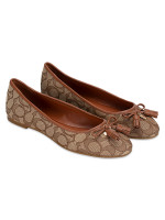 COACH G4176 Bea Signature Canvas Flats Khaki Saddle Sz 8