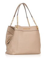 MICHAEL KORS Jet Set Item Large Leather Chain Shoulder Tote Bisque