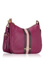 COACH 80643 Varsity Stripe Jes Leather Hobo Dark Berry Multi