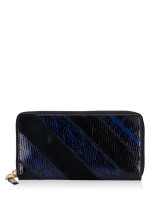 TORY BURCH Gemini Link Snake Zip Wallet Black Blue
