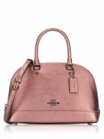 COACH 29170 Metallic Leather Mini Sierra Satchel Dark Blush