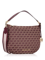 MICHAEL KORS Bedford Signature Canvas Medium Convertible Shoulder Bag Oxblood