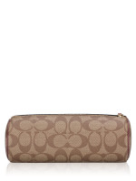 COACH 80122 Signature Make Up Pouch and Mirror Gift Set Khaki Wine