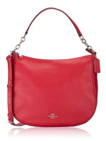 COACH 31399 Pebbled Leather Elle Hobo Bright Cardinal