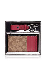 COACH Men 79848 Signature Zip Card Case Fob Gift Set Tan Multi