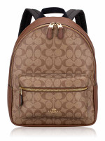 COACH 32200 Signature Charlie Medium Backpack Khaki Saddle