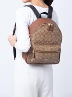 COACH 32200 Signature Charlie Medium Backpack Khaki Saddle