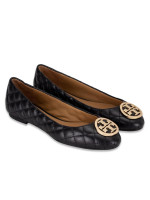 TORY BURCH Benton Quilted Leather Flats Black Sz 7.5